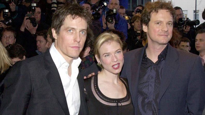 Hugh Grant, Renee Zellweger ja Colin Firth, Bridget Jones - elämäni sinkkuna -elokuvan ensi-illassa, 2001