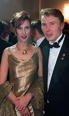 Mika Häkkinen ja Erja Honkanen Linnan juhlissa 1997