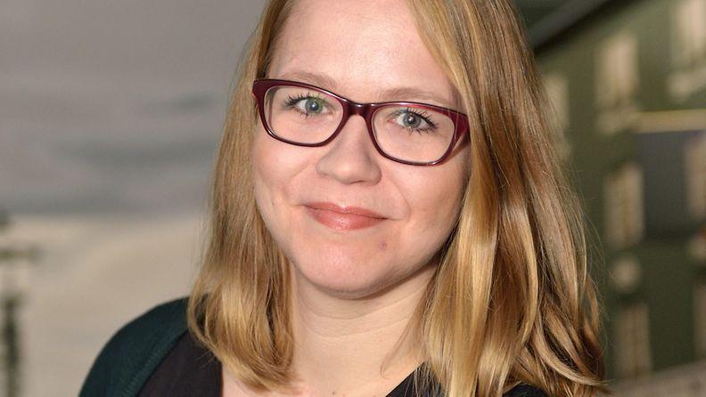 Toimittaja Anu Silfverberg Suuren journalistipalkinnon ehdokkaiden julkistustilaisuudessa Helsingissä 15. helmikuuta 2013.