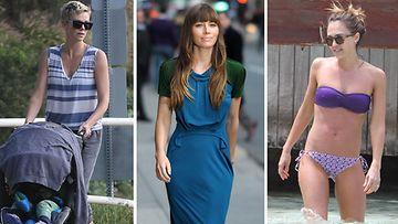Charlies Theron, Jessica Biel ja Jessica Alba pitävät itsensä kunnossa liikkumalla.