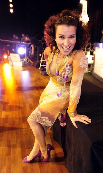 Arja Koriseva Tanssii Tähtien Kanssa -ohjelman finaalin jälkeen MTV3:n studiolla 2009