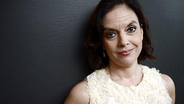 Kirjailija, näyttelijä Anna-Leena Härkönen uuden Vares -elokuvan Pimeyden tangon lehdistötilaisuudessa 25. syyskuuta 2012.