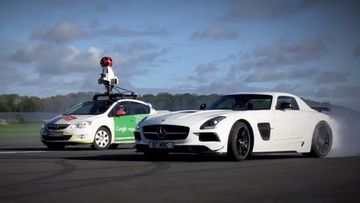 Google vs The Stig. Kuvakaappaus Top Gearin YouTube-videolta.