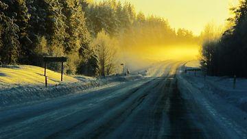 Pakkaspäivä Rovaniemen ja Ranuan välisellä tiellä 15. tammikuuta 2014. Lukijan kuva