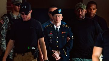 US Army Private Bradley Manning (C) leaves the courtroom at Fort Meade, Maryland, USA, 30 July 2013. Private Bradley Manning was acquitted by a US military judge on the key charge of aiding the enemy in the Wikileaks case, but he still faces up to 144 years in jail for his conviction in lesser charges. The judge, Colonel Denise Lind, found Manning guilty on 19 of 21 charges that had been brought against the 25-year-old soldier. Manning has admitted to lifting an estimated 700,000 classified diplomatic and military documents from the US government system. Manning, who has become a cause celebre of free information advocates on the internet in the three years since his arrest, gathered the documents when he worked as an intelligence analyst in Iraq. The sentencing phase could begin as early as 31 July.