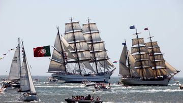 Ships from around Europe participate in the Tall Ships Races, along the Tagus River in Lisbon, Portugal, 22 July 2012. T