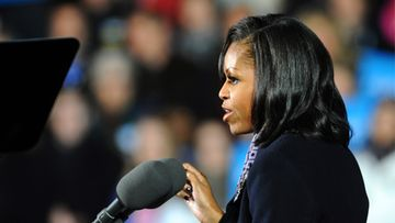 Michelle Obama, wife of candidate for United States President, Barack Obama addresses a large crowd during her husband's final rally as a candidate, the night before the election, in Des Moines, Iowa, USA, 05 November 2012. After nearly 18 months of campaigning and after an estimated billion dollars spent, United States President Barack Obama faces Republican candidate for United States President Mitt Romney in the national election on 06 November 2012.