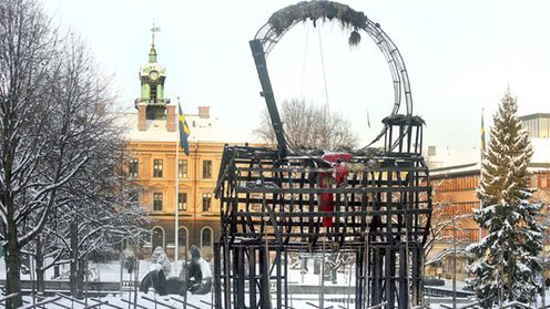 The charred remains of a Christmas straw goat stands in the town center of Gavle, Northern Sweden, on Dec. 23, 2009. Torching the goat has become a yuletide tradition, in spite of surveillance cameras and security guards the 43-foot-high (13-meter-high) goat has burned 24 times since it was first set up in 1966 to mark the holiday season. EPA/