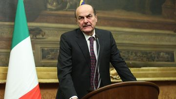 Centre-left leader Pier Luigi Bersani addresses media at the end of his talks with representatives of Italy's main political parties in his bid to form a government, Rome, Italy, 28 March 2013. Centre-left leader Pier Luigi Bersani has been asked by President Giorgio Napolitano to try to form a new administration. But to succeed, Bersani needs to secure outside support in the upper house of parliament, the Senate, where he lacks a majority.