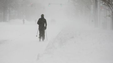 A cross-country skier makes his way up Massachusetts Avenue during winter storm Nemo in Cambridge, Massachusetts, USA, 09 February 2013