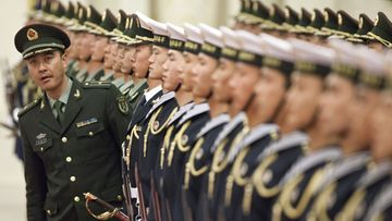 Members of a PLA (People's Liberation Army) honour guard prepare for a welcoming ceremony for Polish President Bronislaw Komorowski at the Great Hall of the People in Beijing, China 20 December 2011. Komorowski is on a state visit to China, the first by a Polish president for 14 years, to promote stronger cultural and economic ties between the two countries. EPA/ADRIAN BRADSHAW