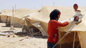 Syyrialainen pakolaisnainen pakolaisleirillä Mafraqissa Jordaniassa.