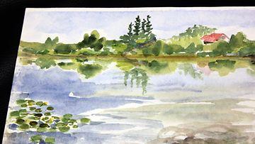 """Taiteilija ja näyttelijä Helen Elden """"puska-akvarelli"""". """"Tuo on Vantaanjoessa yksi laituripaikka, jossa voi istua, johon melojat pysähtyy"""", Elde kertoo kuvasta."""