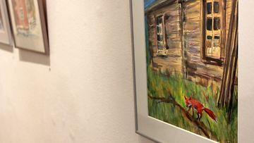 Taiteilija ja näyttelijä Helen Elden maalauksia 14.1.2014 Galleria Saimassa