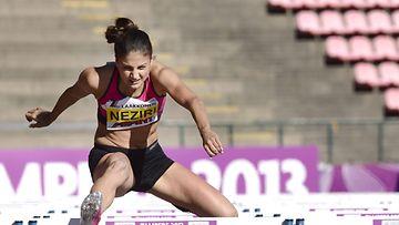 Nooralotta Neziri naisten 100 metrin aitojen finaalissa Tampereen eliittikisoissa sunnuntaina 25.elokuuta 2013,