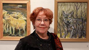 Taiteilija ja näyttelijä Helen Elde 14.1.2014 Galleria Saimassa
