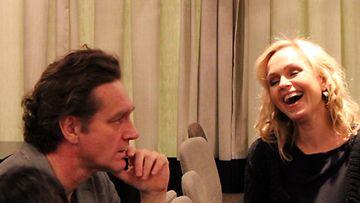 Ville Virtanen ja Anu Sinisalo Ei kiitos -elokuvan pressitilaisuudessa 7.1.2014