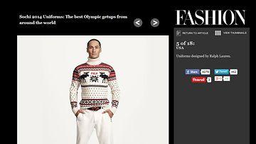 USA:n Sotshi-asu. Kuvakaappaus fashionmagazine.comista.