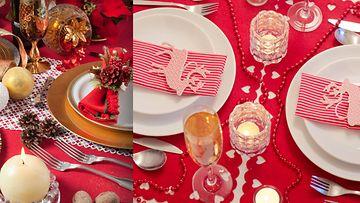 Punainen pöytäliina takaa punaisen joulun. Kuvat: Shutterstock.