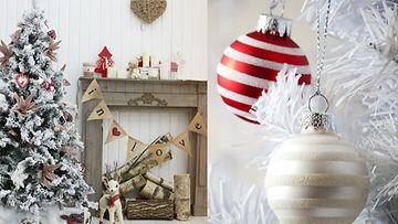 Joulukuusen voi koristella valkoisilla koristeilla.
