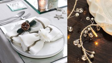 Valkoiset servietit ja kynttilät sopivat pöytäkattaukseen. Kuvat: The White Company.