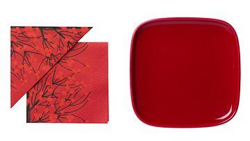 Hyödynnä pöytäkattauksessa punaisia esineitä. Kuvat: Marimekko