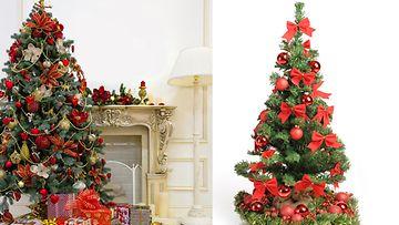 Koristele kuusi punaisilla joulukoristeilla. Kuvat: Shutterstock
