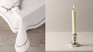 Valkoinen pöytäliina ja upea kynttilä kruunaavat pöytäkattauksen. Kuvat: White Company