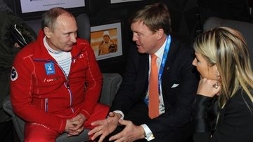 Vladimir Putin ja Hollannin kuningaspari.
