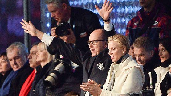 Monacon Charlene ja Albert Sotshin olympialaisten avajaisissa 7. helmikuuta.