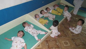 An undated handout picture provided by the Korean Council for Reconciliation and Cooperation (KCRC) on 09 August 2011 of babies at an orphanage in the western North Korean county of Sariwon, Hwanghae Province. A seven-member delegation from the Korean Council for Reconciliation and Cooperation (KCRC), a South Korean civic organization for unification, took the photo during their visit to Sariwon from 3-6 August 2011 to monitor the distribution of 300 tons of flour aid they had sent to the flood-damaged county earlier.