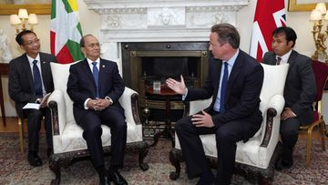 President of Myanmar, Thein Sein (C-L) meets with British Prime Minister David Cameron (C-R) in 10 Downing Street, London, Britain, 15 July 2013. Thein Sein is on an official visit to Britain