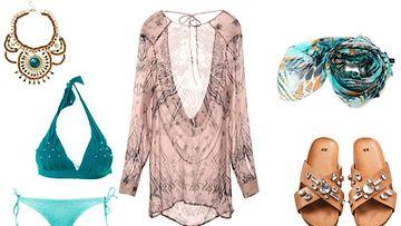 Koru, sandaalit ja tunika H&M, huivi Guess by MARCIANO, bikiniyläosa Aubade, bikinialaosa Cubus.