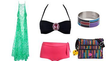 Mekko H&M, rannekoru ja laukku Kipling, bikiniyläosa Cubus, bikinialaosa KappAhl