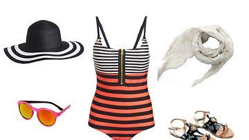 Hellehattu ja uima-asu KappAhl, sandaalit gaudi, aurinkolasit H&M, huivi  Liu Jo Jeans