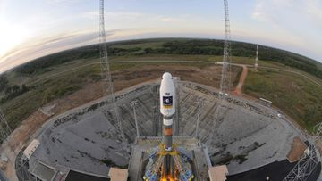 In this handout image supplied by the European Space Agency (ESA) on October 19, 2011, the Soyuz VS01 is prepared on the launch pad at the European Spaceport in Kourou, French Guiana.