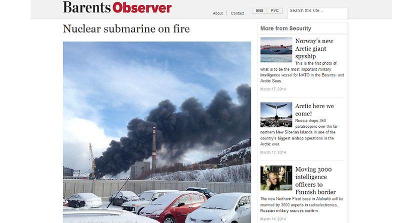 Purettava ydinsukellusvene roihusi telakalla Murmanskissa