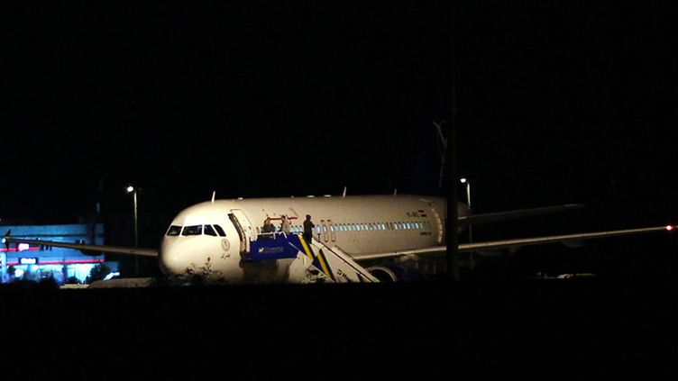 A Syrian passenger plane is seen after it was forced to land at Ankara airport, Turkey, early 11 October 2012. The plane was headed to Damascus from Moscow with 35 passengers on board, according to Turkish media. The Turkish air force sent several F-16 fighter jets to force the Airbus plane on suspicion it was carrying weapons on board. Russia is the most important source for weapons for the regime of President Bashar al-Assad. A large section of the Syrian opposition is based in Turkey.