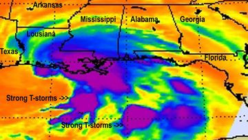 A NASA handout infrared image of Tropical Storm Lee on 03 September 2100 at 3 47 a.m. Eastern Daylight Time (EDT) and showing the coldest clouds and strongest thunderstorms (purple) over southeastern Louisiana and the Gulf of Mexico.