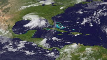 A National Oceanic and Atmospheric Administration (NOAA) handout satellite image made available on 03 September 2011 showing Tropical Storm Lee in the Gulf of Mexico, USA, on 02 September 2011.