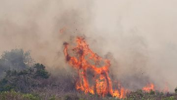 A wildfire burns near the LC-39 press site at Kennedy Space Center, Cape Canaveral, Florida, USA 27 April 2011.