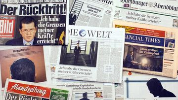 The frontpages of several German newsspapers report on the resignation of German Defence Minister Karl-Theodor zu Guttenberg, Berlin, Germany, on 02 March 2011.