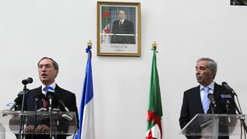 French Interior Minister Claude Gueant (L) speaks during a joint press conference with his Algerian counterpart Dahou Ould Kablia, in Algiers, Algeria, 04 December 2011. According to media reports, the French Interior Minister arived on 04 December on an official visit, to meet his Algerian counterpart, Daho Ould Kabila and discuss the latest developments in the Sahel zoneand the cooperation between the two countries in the fight against terrorism.