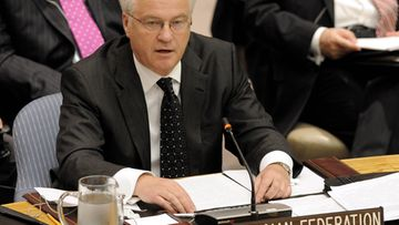 Vitaly Churkin, Russia's Permanent Representative to the U.N., speaks following a United Nations Security Council vote on new sanctions against Iran at United Nations headquarters in New York, New York, USA on 09 June 2010.