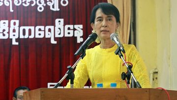 Myanmar democracy leader Aung San Suu Kyi gives a speech during ceremony of the International Day of Democracy at the National Leageu for Democracy party (NLD) head office, Yangon, Myanmar, 15 September 2011.