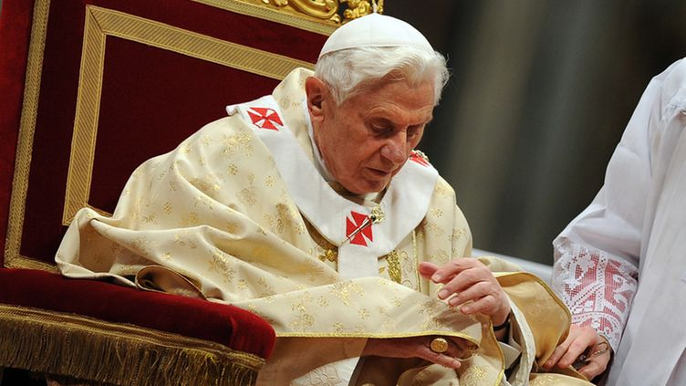 Pope Benedict XVI leads the midnight Christmas Mass in Saint Peter's Basilica at the Vatican, late 24 December 2011.