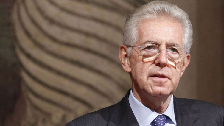 Newly appointed Italian Prime Minister, Mario Monti speaks during a news conference at Giustiniani Palace in Rome, Italy on 15 November 2011.