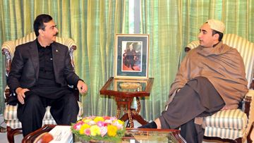 Pakistan's Prime Minister Yusuf Raza Gilani (L) talking with Chairman of the Pakistan Peoples Party Bilawal Zardari Bhutto (R), during their meeting in Islamabad, Pakistan 07 December 2011.