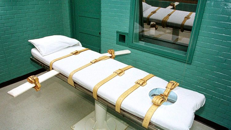 An undated file photo from they year 2000 shows the death chamber inside the Huntsville Unit in Huntsville, Texas. The chamber is where the State of Texas executes prisoners by lethal injection.