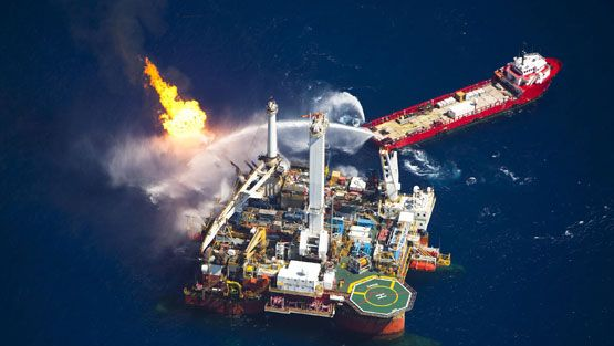 A picture made available on 25 June 2010 shows the Q4000 multi-purpose oil field intervention vessel, burns off material from the Deepwater Horizon wellhead near the disaster site in the Gulf of Mexico on 24 June 2010. The BP leased oil Deepwater Horizon platform exploded on April 20 and sank after burning. EPA/DANIEL BELTRA / GREENPEACE HANDOUT NO SALES / EDITORIAL USE ONLY IMAGE AVAILABLE FOR DOWNLOAD BY EXTERNAL MEDIA FOR 14 DAYS AFTER RELEASE. TERMS OF HAND-OUT NO RESALE, NO ARCHIVE, FOR EDITORIAL USE ONLY, NOT FOR MARKETING OR ADVERTISING CAMPAIGNS.